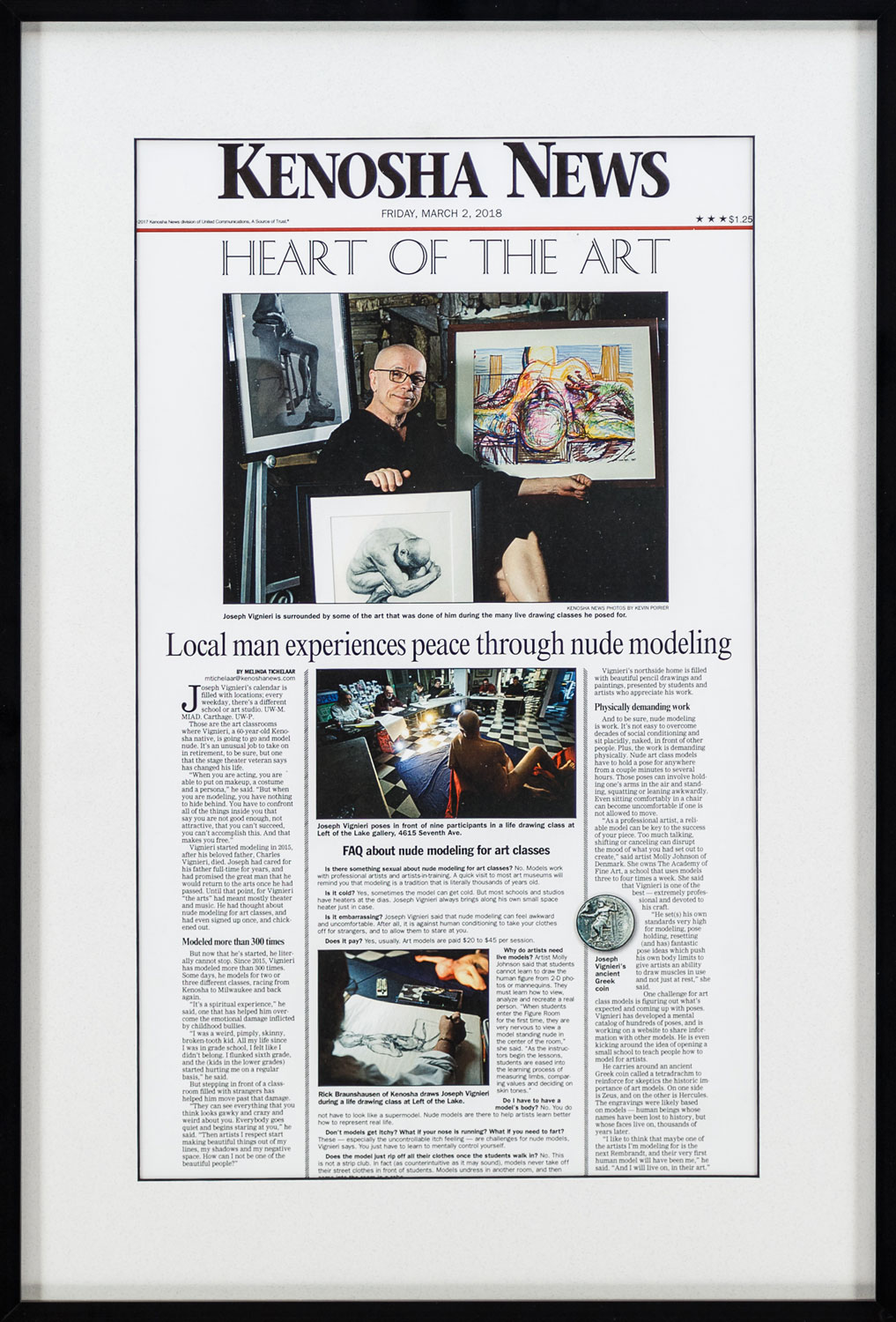 """Heart of the Art"" by Melinda Tichelaar, Photographer: Kevin Poirier • Kenosha News • 8/2/18 • Newspaper Article"