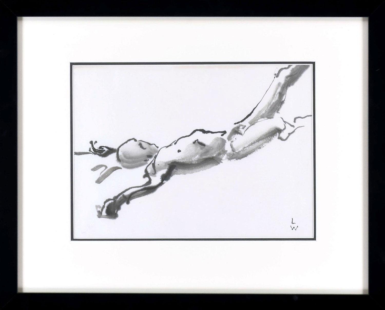 """Fallen Man"" • Artists Guild, Sturgeon Bay • Spring, 2017 • Sumi ink on rice paper"