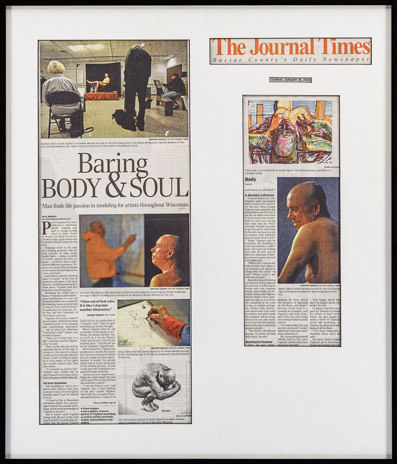 """Baring Body & Soul"" by Lee B. Roberts, Photographer: Gregory Shaver • The Journal Timers, Racine • 1/28/18 • Newspaper Article"